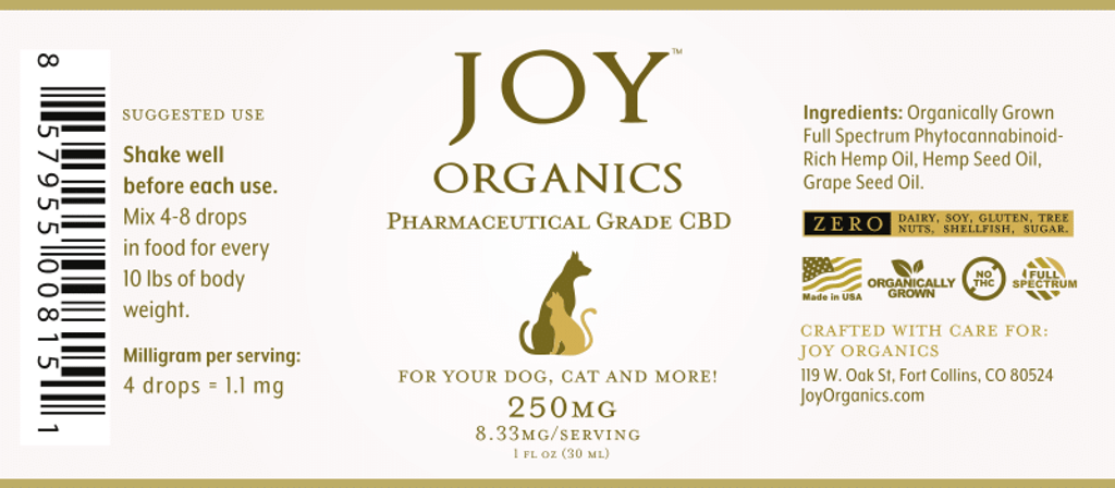 Joy's Organics pet tincture