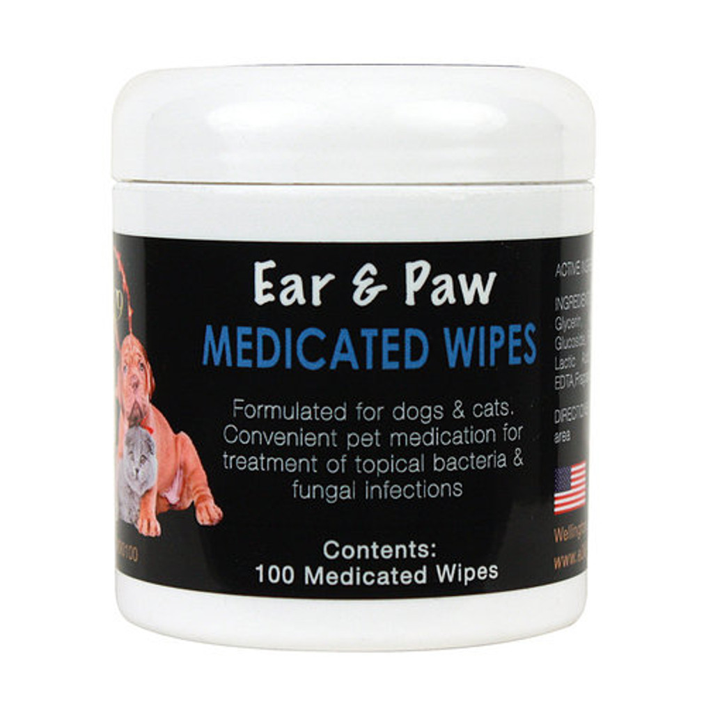 Medicated Ear and Paw Wipes 100 count