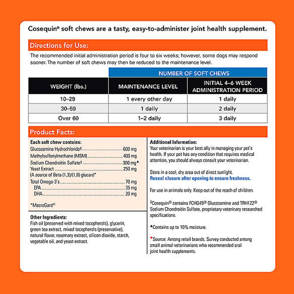 Nutramax Cosequin Senior Joint Health Dog Supplement, 60 count