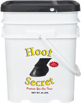 Hoof Secret combines the key ingredients for dramatic improvement of hoof integrity in a matter of weeks. Contains 70 mg biotin, 4570 mg dl-methionine, 274 mg zinc, 84 mg manganese, 20 mg vitamin B-6, 25 mg folic acid, and 656 mg vitamin C per 2 oz. serving. Feed 2 oz. daily until desired results have been achieved, then 1 oz. daily. Pellets.
