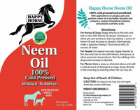 100% Cold Pressed Certified Organic Neem Oil Label
