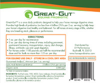 Great-Gut Equine Probiotic label