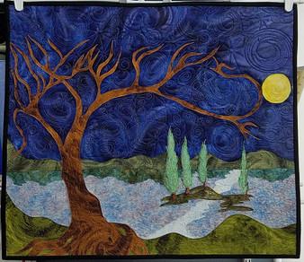 Moonlit Sunlit Landscape Quilt by Valerie Funk