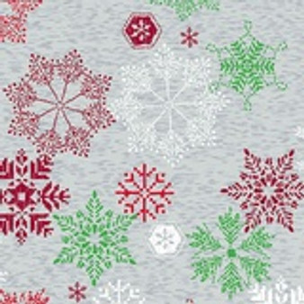 Northern Lights Grey, Red, Green, White Snowflakes A-9097-RC