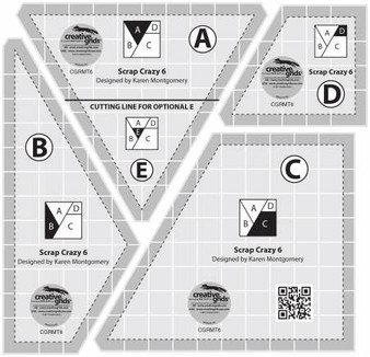 Creative Grids Scrap Crazy 6 Templates Quilt Ruler