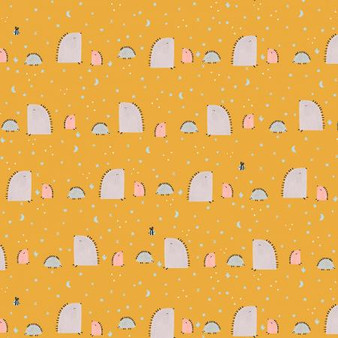 Summer Skies - Hedgehog Hills - Yellow Fabric