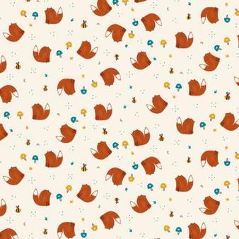 Summer Skies - Fox Friends - Yellow Fabric