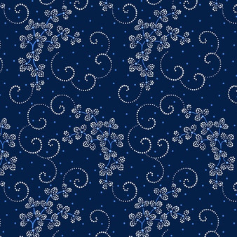 Danbury - Dotted Leaf and Scroll - Navy