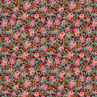 Garden Party - Rosa - Burgundy Metallic Fabric RP305-BU5M