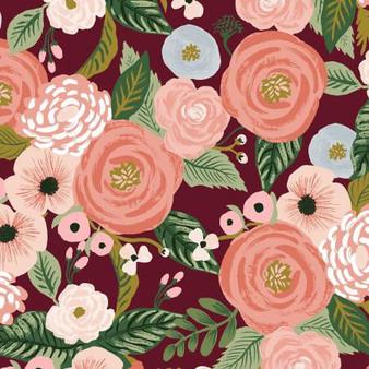 Garden Party - Juliet Rose - Burgundy Canvas Fabric RP520-BU1C