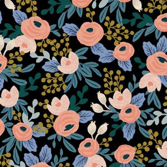 Garden Party - Rosa - Black Unbleached Canvas Fabric RP521-BK2UC