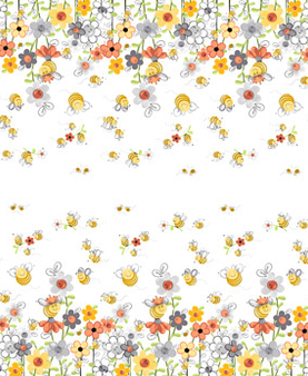 Sweet Bees Border by Susybee White