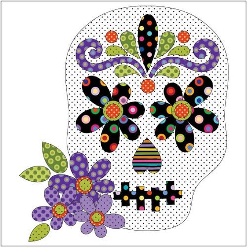 Sugar Skull Applique 11in x 12 1/2in