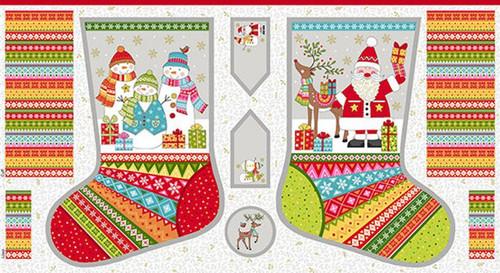 Festive Christmas Stocking Panel from Makower