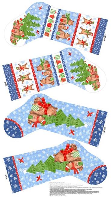 Bearly Christmas Stocking Panel