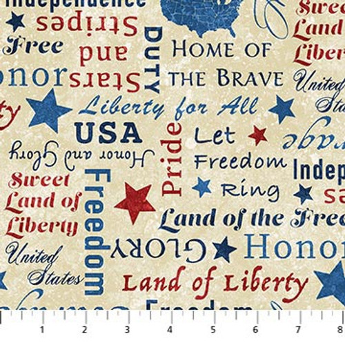 Stars and Stripes 8 Beige Multi Words