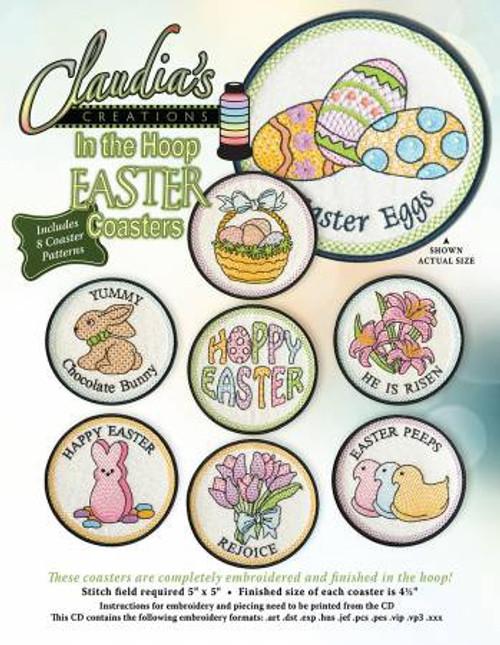 Claudia's Designs In the Hoop Easter Coasters