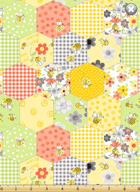 Sweet Bees Honeycomb Patchwork by Susybee Yellow