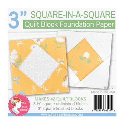 """3"""" Square-in-a-Square Quilt Block Foundation Paper"""