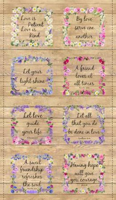 Floral Proverbs On Wood Panel Multi PANEL-C7565