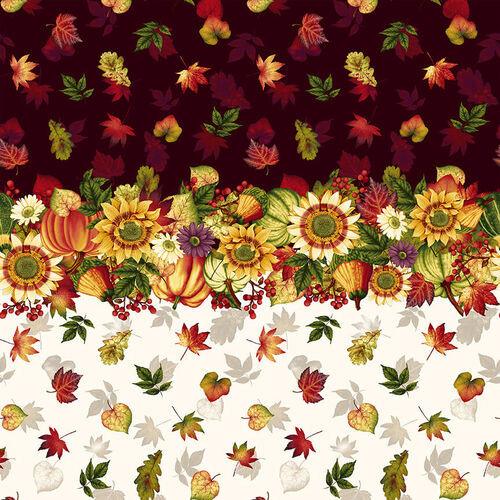 Pumpkin Harvest 2666-33 Cream Border Stripe