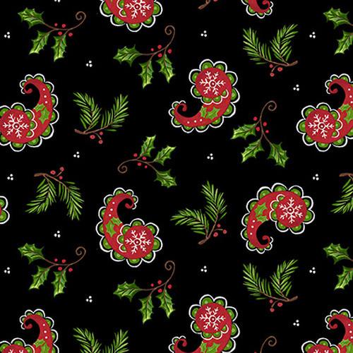 Christmas Paisley 1516-99 Black