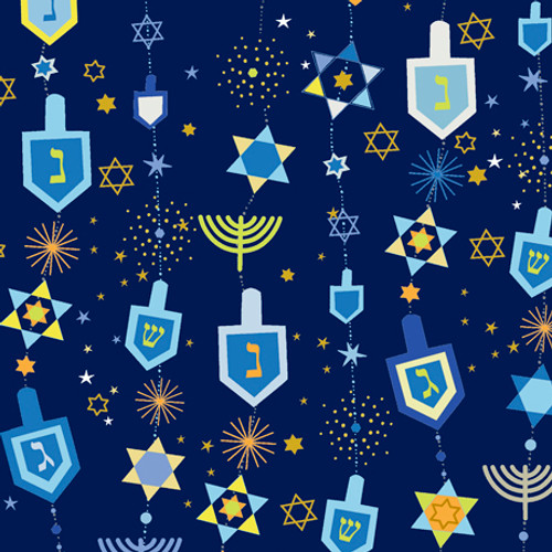 Hanukkah Greetings - Hanukkah Motifs - Navy
