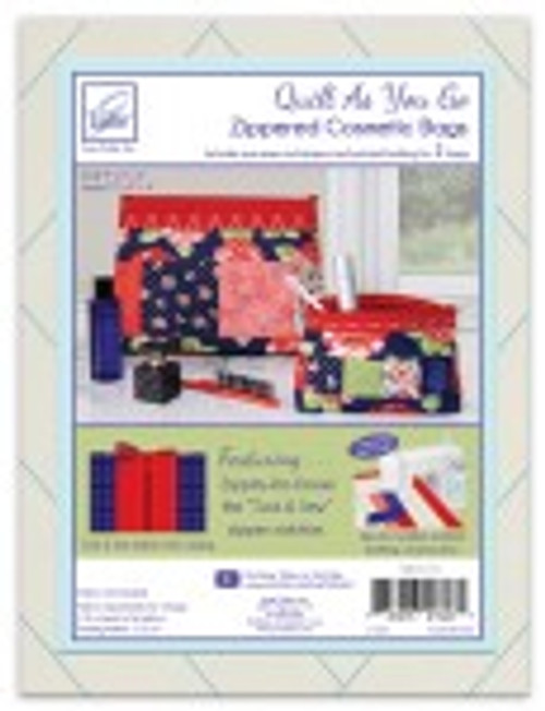 Quilt as You Go Zippered Cosmetic Bag Red Zipper