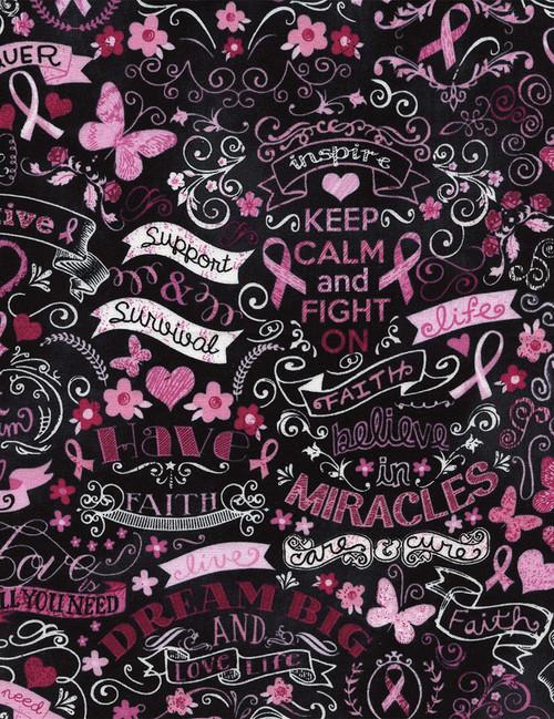 Gail-C3999 Black - Pink Ribbon Chalkboard
