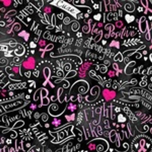 Breast Cancer Chalkboard Fabric Gail-C8408