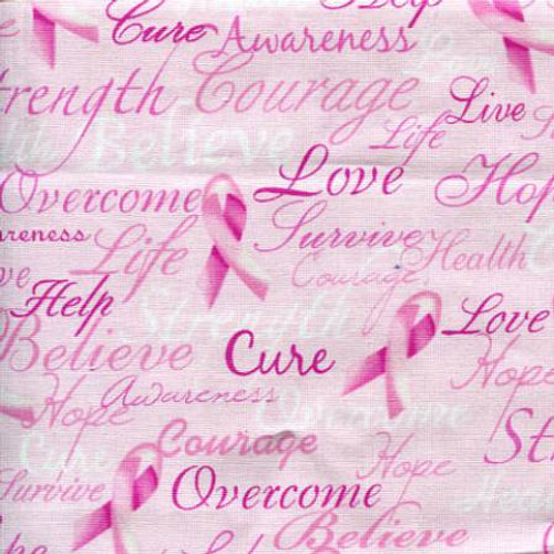 Gail-C7659 Pink - Breast Cancer Words Pink Ribbon