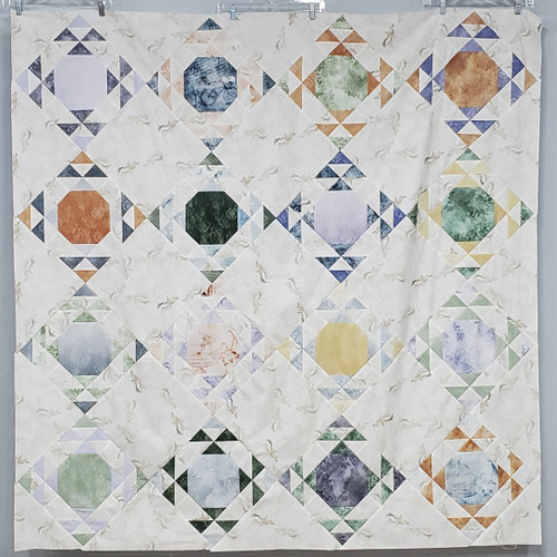 Moonwake Quilt Kit featuring Vintage Farmhouse fabrics from Hoffman Fabrics