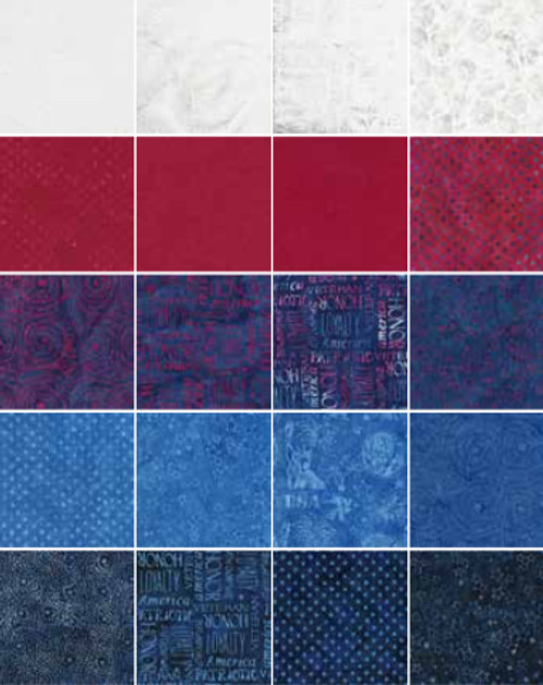 You will enjoy this patriotic set of red, white and blue batiks by Kathy Engle for Island Batiks.