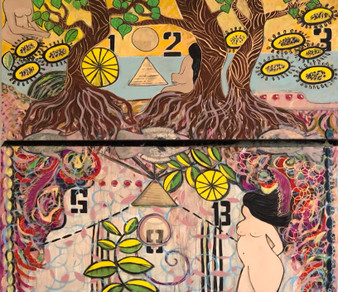 """""""Gender Identity"""" By Jessica Oleksy - (2 panels) 4'x2' Each Acrylic Paintings on stretcher bars."""