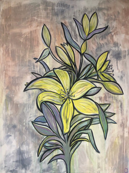 """""""Lily Study"""" By Jessica Oleksy - 30""""x40"""" Acrylic Painting on stretcher bars."""