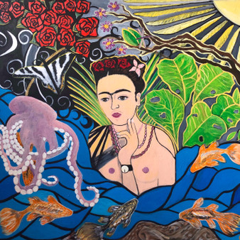 """""""Limerence-The Midnight Moth"""" By Jessica Oleksy - 3'x3' Acrylic Painting on stretcher bars."""