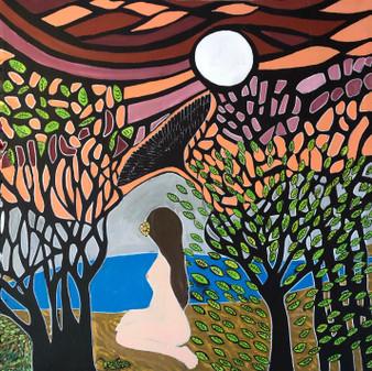 """The Awakening"" By Jessica Oleksy - 3'x3' Acrylic Painting on Stretcher bars"