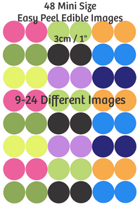 MINI cupcake size edible images - Multiple images 9 - 24 different images