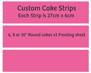 Custom edible cake strips x3