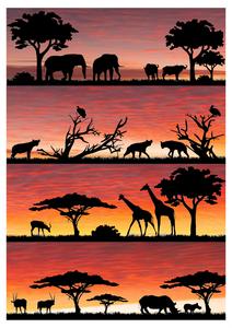 safari silhouette 3 cake wrap