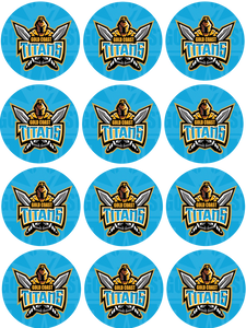 Titans 5cm wafer card cupcake toppers