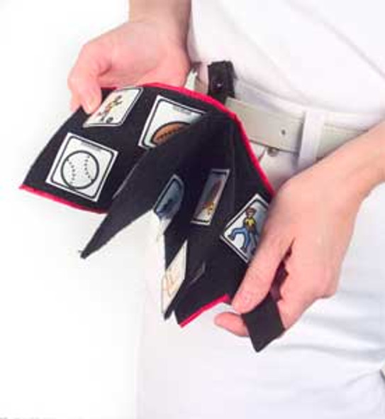 Portable Fabric PECs Communication Wallet attaches to belt