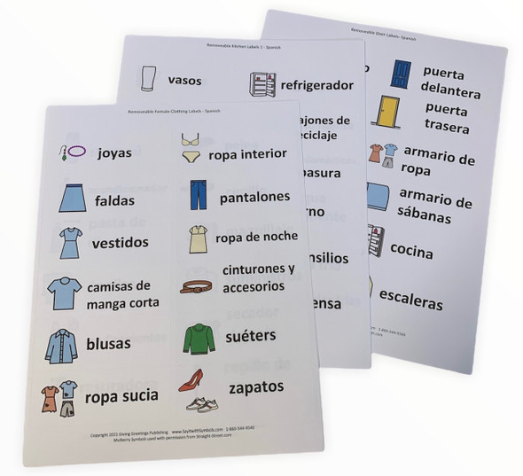 Set of household memory labels for drawers and doors