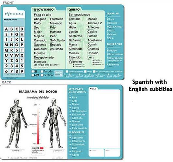 Vidatak EZ Medical Word Board with Marker  |  Spanish