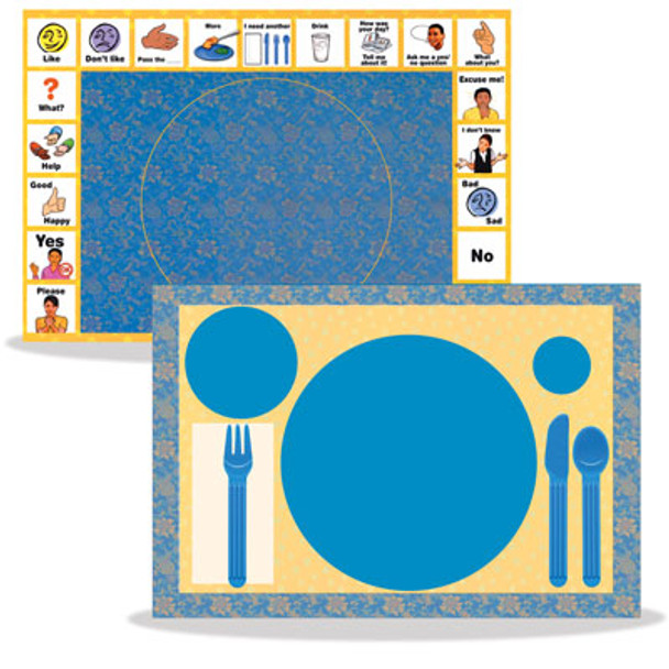 Illustrated placements help with requesting and conversation at meal times.