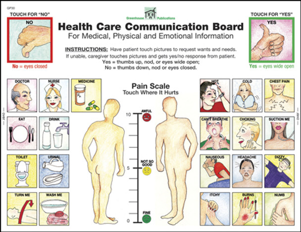 Front of Health Care Communication Board, front in English