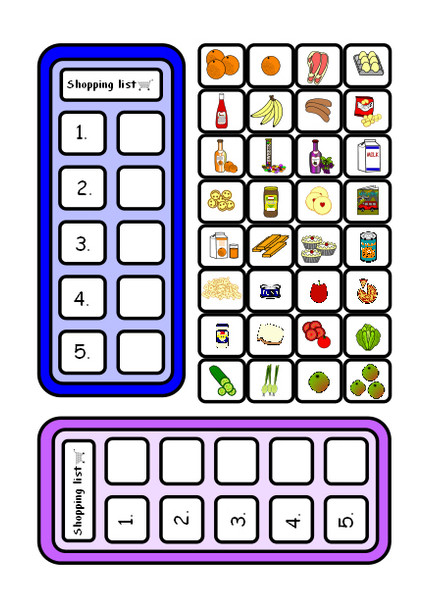 Example shopping list made with ISPEEK symbols