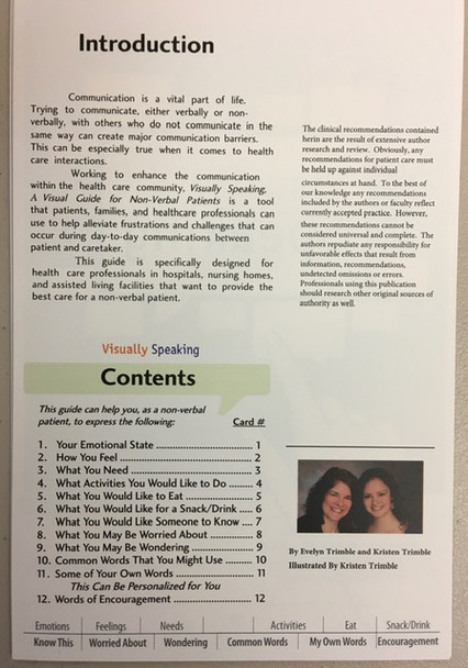 Intro and contents, Visually Speaking Guide for Non-verbal Patients