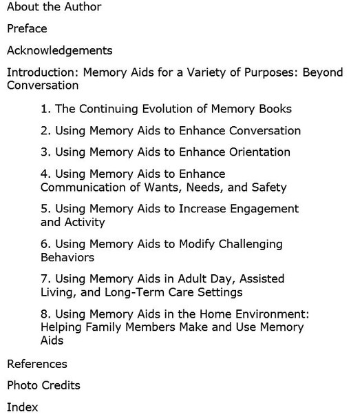 Memory & Communication Aids Table of Contents