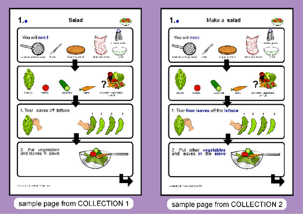 Example illustrated instructions for making a salad, from ISPEEK Step by Step